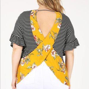Striped blouse with floral open back